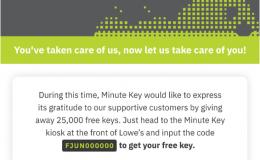 Minute Key免费配钥匙[2020年8月更新 优惠码:FAUG000000]