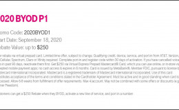 T-Mobile: port in 激活一条线路可以获得$250 礼品卡